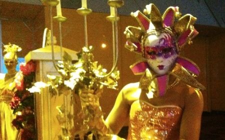 Gold Statues in Masquerade Masks