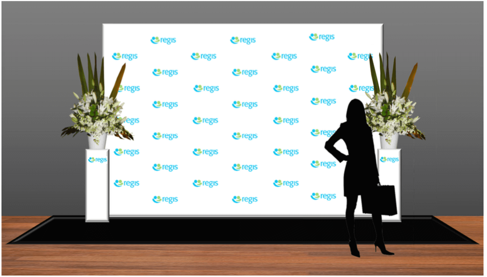 media wall with plinths and florals -2