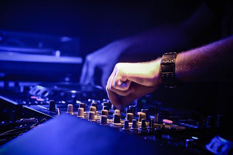corporate event audio visual mixing desk