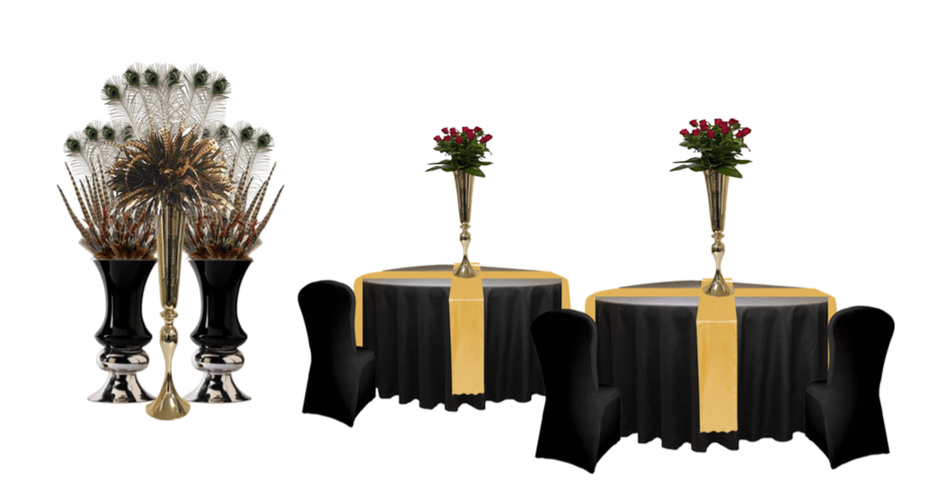 Styling package linen and centrepieces-art deco