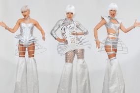 Cyber White Futuristic Stilt Walkers