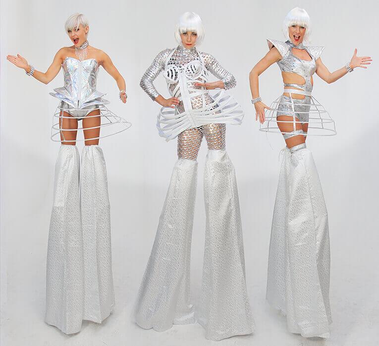 Cyber White Futuristic Stilt Walkers
