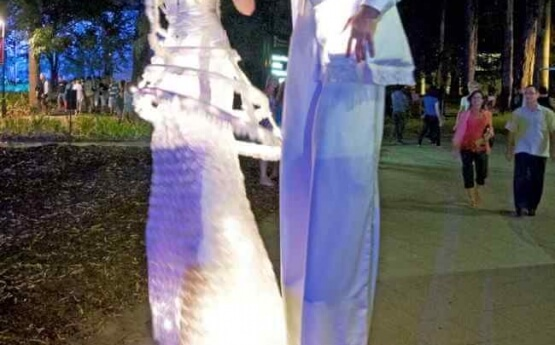 White Alight – Roving Stilt Characters